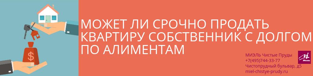 Может ли срочно продать квартиру собственник с долгом по алиментам. Агентство Чистые Пруды, Москва, Чистопрудный бульвар, 5. Звоните 84957443377