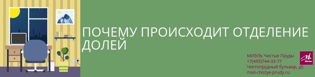Почему происходит отделение долей. Агентство Чистые Пруды, Москва, Чистопрудный бульвар, 5. Звоните 84957443377