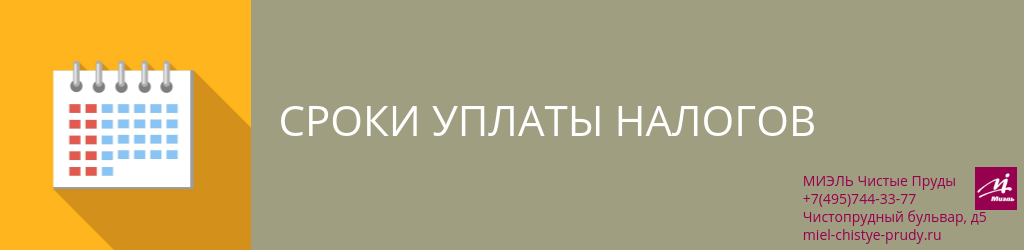 Сроки уплаты налогов. Агентство Чистые Пруды, Москва, Чистопрудный бульвар, 5. Звоните 84957443377